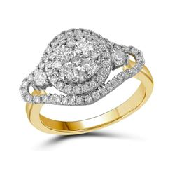1.19 CTW Diamond Cluster Halo Bridal Engagement Ring 10KT Yellow Gold - REF-139X5Y