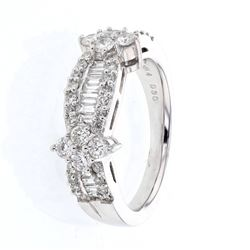 1.07 CTW Diamond & Diamond Ring 14K White Gold - REF-106N5Y