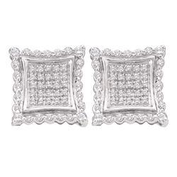 0.50 CTW Diamond Square Kite Cluster Earrings 10KT White Gold - REF-38H9M