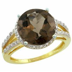 Natural 5.34 ctw Smoky-topaz & Diamond Engagement Ring 10K Yellow Gold - REF-35G4M