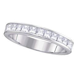 1 CTW Princess Channel-set Diamond 4.5mm Wedding Ring 14KT White Gold - REF-119W9K
