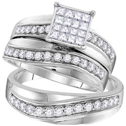 1.18 CTW His & Hers Princess Diamond Matching Bridal Ring 14KT White Gold - REF-127M4H