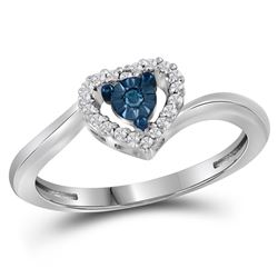 0.10 CTW Blue Color Diamond Heart Love Ring 10KT White Gold - REF-14N9F