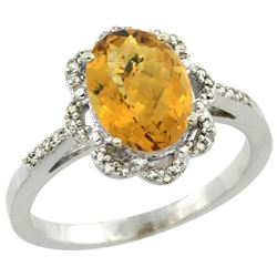 Natural 1.85 ctw Whisky-quartz & Diamond Engagement Ring 14K White Gold - REF-38A3V