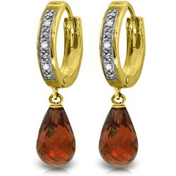 Genuine 4.54 ctw Garnet & Diamond Earrings Jewelry 14KT Yellow Gold - REF-52V2W