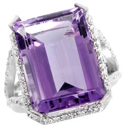 Natural 13.72 ctw amethyst & Diamond Engagement Ring 14K White Gold - REF-81M3H