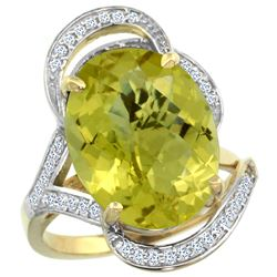 Natural 11.23 ctw lemon-quartz & Diamond Engagement Ring 14K Yellow Gold - REF-98Y7X