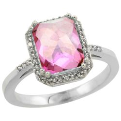 Natural 2.63 ctw Pink-topaz & Diamond Engagement Ring 10K White Gold - REF-32V7F