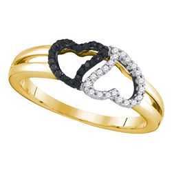 0.17 CTW Black Color Diamond Heart Love Ring 10KT Yellow Gold - REF-19M4H