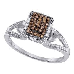 0.15 CTW Cognac-brown Color Diamond Cluster Ring 10KT White Gold - REF-18H2M