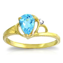 Genuine 0.66 ctw Blue Topaz & Diamond Ring Jewelry 14KT Yellow Gold - REF-31H4X