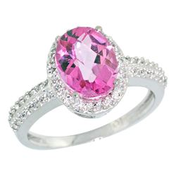 Natural 1.91 ctw Pink-topaz & Diamond Engagement Ring 10K White Gold - REF-31A7V