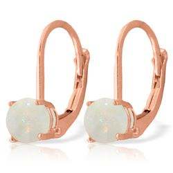 Genuine 0.70 ctw Opal Earrings Jewelry 14KT Rose Gold - REF-24A3K