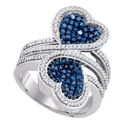 1.1 CTW Blue Color Diamond Double Heart Bypass Ring 10KT White Gold - REF-75F2N