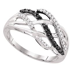 0.25 CTW Black Color Diamond Crossover Strand Ring 10KT White Gold - REF-18Y2X