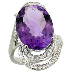 Natural 11.2 ctw amethyst & Diamond Engagement Ring 14K White Gold - REF-95V8F