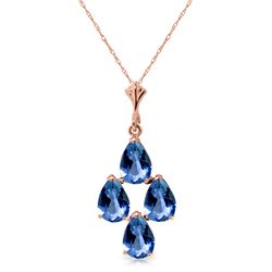 Genuine 1.50 ctw Blue Topaz Necklace Jewelry 14KT Rose Gold - REF-20X4M