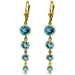 Genuine 7.8 ctw Blue Topaz Earrings Jewelry 14KT Yellow Gold - REF-46W3Y