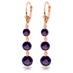 Genuine 7.2 ctw Amethyst Earrings Jewelry 14KT Rose Gold - REF-42Y6F