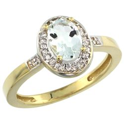 Natural 0.79 ctw Aquamarine & Diamond Engagement Ring 10K Yellow Gold - REF-27X9A