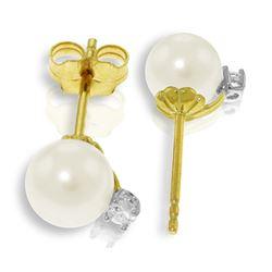 Genuine 4.1 ctw Pearl & Diamond Earrings Jewelry 14KT Yellow Gold - REF-21K6V