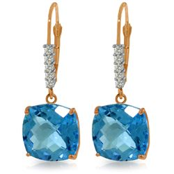 Genuine 7.35 ctw Blue Topaz & Diamond Earrings Jewelry 14KT Rose Gold - REF-57X3M