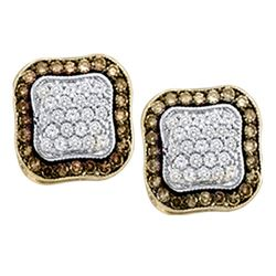 0.97 CTW Cognac-brown Color Diamond Square Cluster Earrings 10KT Yellow Gold - REF-37H5M