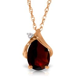 Genuine 2.03 ctw Garnet & Diamond Necklace Jewelry 14KT Rose Gold - REF-30A5K
