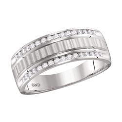 0.33 CTW Mens Channel-set Diamond Textured Wedding Ring 14KT White Gold - REF-64W4K