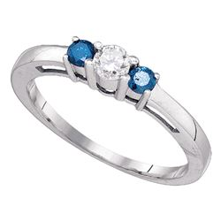 0.37 CTW Blue Diamond 3-stone Bridal Engagement Ring 10KT White Gold - REF-32X9Y