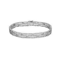 3.09 CTW Diamond Bracelet 18K White Gold - REF-327F9N
