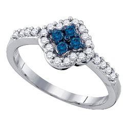 0.40 CTW Blue Color Diamond Cluster Ring 10KT White Gold - REF-22N4F