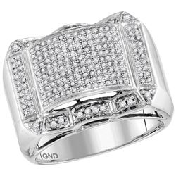 0.66 CTW Mens Diamond Symmetrical Domed Cluster Ring 10KT White Gold - REF-59N9F