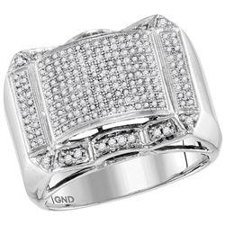 0.66 CTW Mens Diamond Symmetrical Domed Cluster Ring 10KT White Gold - REF-59N9F