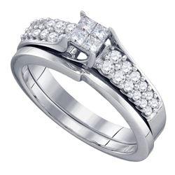 0.50 CTW Diamond Princess Bridal Engagement Ring 14KT White Gold - REF-67H4M