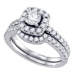 1.33 CTW Diamond Halo Bridal Engagement Ring 14KT White Gold - REF-224M9H