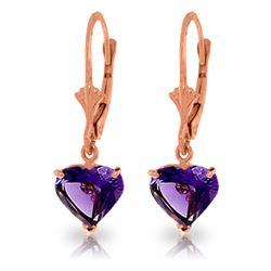 Genuine 3.25 ctw Amethyst Earrings Jewelry 14KT Rose Gold - REF-29N2R