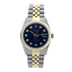 Rolex Pre-owned 36mm Mens Navy Blue Two Tone - REF-490K3X