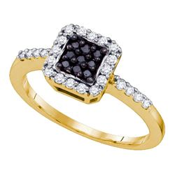 0.35 CTW Black Color Diamond Square Halo Cluster Slender Ring 10KT Yellow Gold - REF-30Y2X