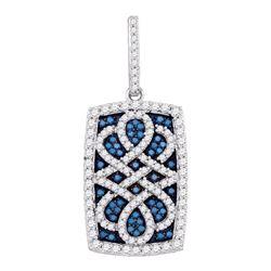 0.90 CTW Blue Color Diamond Rectangle Cluster Pendant 10KT White Gold - REF-49X5Y