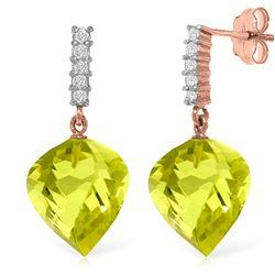 Genuine 21.65 ctw Lemon Quartz & Diamond Earrings Jewelry 14KT Rose Gold - REF-52V9W