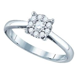 0.48 CTW Diamond Cluster Bridal Engagement Ring 18KT White Gold - REF-104Y9X