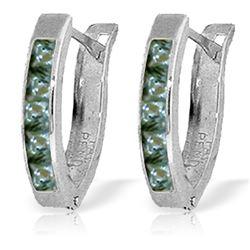 Genuine 1.30 ctw Green Sapphire Earrings Jewelry 14KT White Gold - REF-30V9W