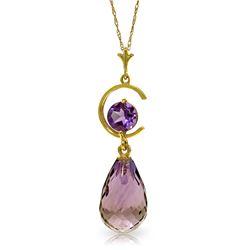 Genuine 5.5 ctw Amethyst Necklace Jewelry 14KT Yellow Gold - REF-25F6Z