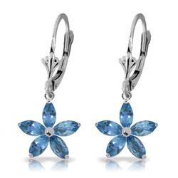 Genuine 2.8 ctw Blue Topaz Earrings Jewelry 14KT White Gold - REF-46P7H