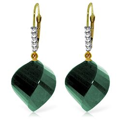 Genuine 30.65 ctw Green Sapphire Corundum & Diamond Earrings Jewelry 14KT Yellow Gold - REF-62W3Y