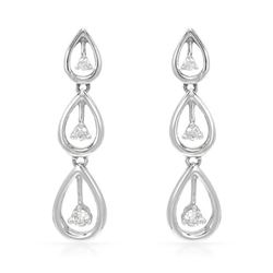 0.19 CTW Diamond Earrings 14K White Gold - REF-28F5N