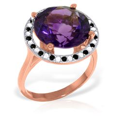 Genuine 6.2 ctw Amethyst, White & Black Diamond Ring Jewelry 14KT Rose Gold - REF-91M8T