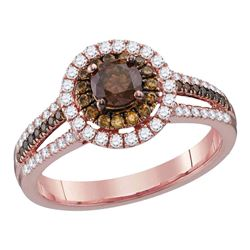 0.99 CTW Brown Diamond Solitaire Halo Bridal Engagement Ring 14KT Rose Gold - REF-104F9N