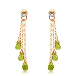 Genuine 10.53 ctw Peridot & Diamond Earrings Jewelry 14KT Rose Gold - REF-33T7A